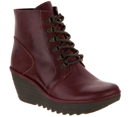 """As Is"" FLY London Leather Lace-up Wedge Ankle Boots - Yarn"