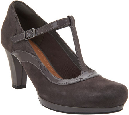 """As Is"" Clarks Artisan Leather T-Strap Pumps- Chorus Pitch"