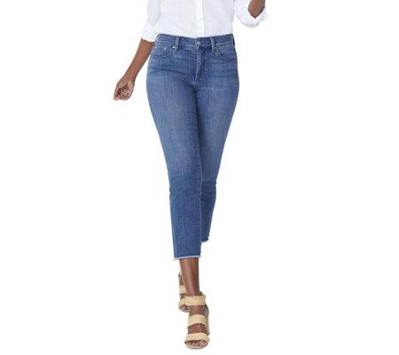 NYDJ Sheri Cool Embrace Slim Ankle Jeans w/ Fray - Zimbali