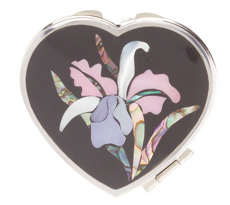 Lee Sands Floral Inlay Compact Mirror