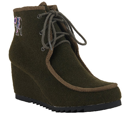 Sakroots Felt Lace-up Wedge Booties - Tango