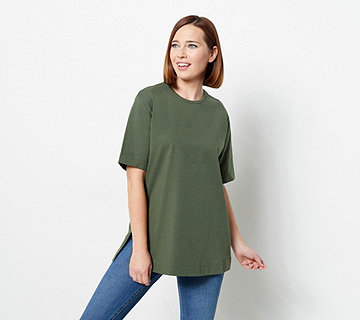 Denim & Co. Essentials Cotton Jersey Oversized Scoopneck Tee - A60263