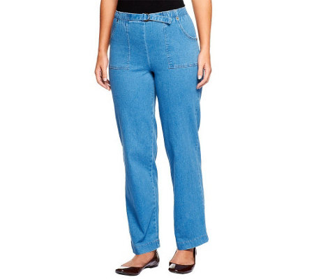 "Denim & Co. ""How Timeless"" Tall Stretch Denim Pull-On Pants"