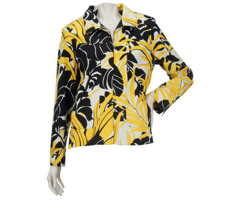 Susan Graver Weekend Printed Cotton Zip Front Jacket