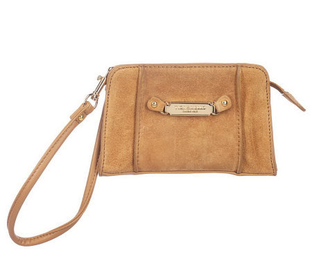 Tignanello Suede Wristlet with Logo Plaque