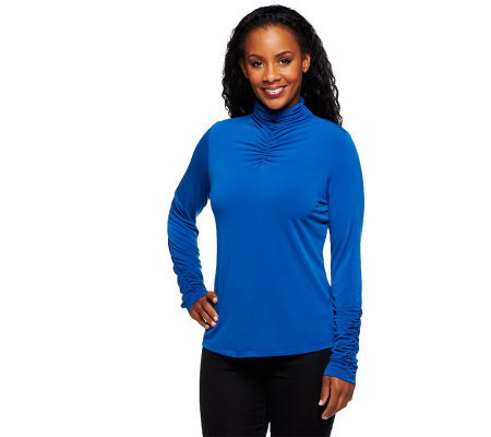 Susan Graver Liquid Knit Long Sleeve Turtleneck with Ruching Detail