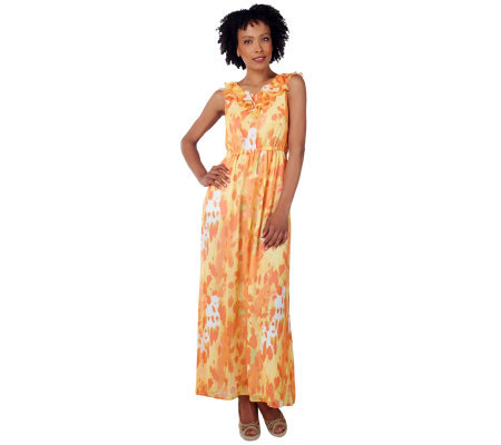 Isaac Mizrahi Live! Butterfly Print Sleeveless Maxi Dress