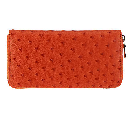 Lee Sands Ladies Ostrich Print Full Zip Wallet