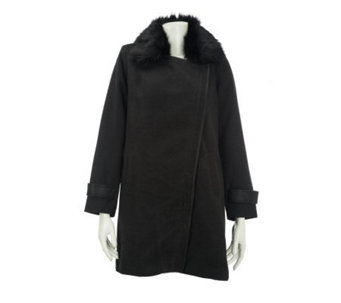 Dennis Basso Faux Wool Coat with Detachable Faux Fur Collar - A228364