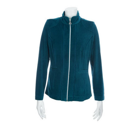 Susan Graver Velour Zip Front Jacket with Welt Pockets