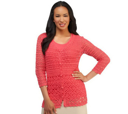 Liz Claiborne New York Hand Crochet V-neck Cardigan with Tank