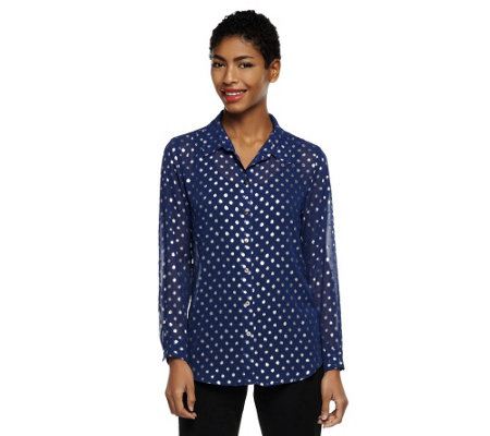 Susan Graver Sheer Chiffon Button Front Big Shirt with Foiled Dots
