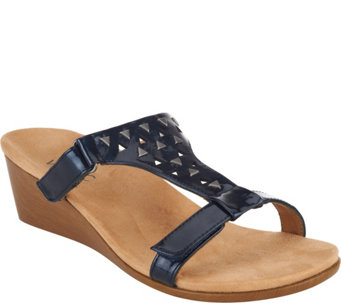 Vionic Orthotic Adj. T-Strap Wedge Sandals - Maggie - A239864