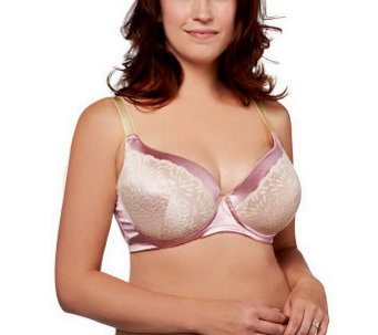 """As Is"" Barely Breezies Modesty Lined Fiberfill Bra with Lace - A251664"