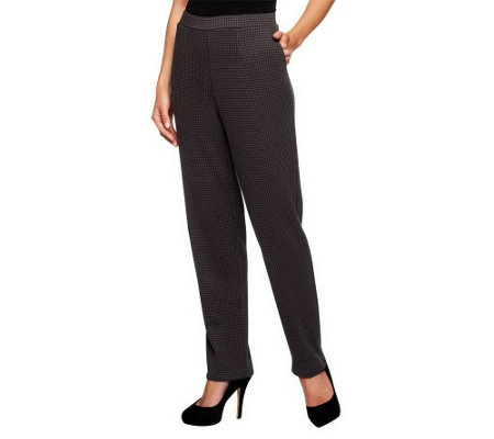 """As Is"" Susan Graver Double Knit Houndstooth Pull-on Pants"