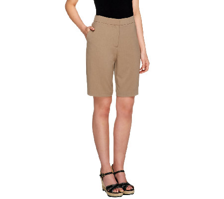 Susan Graver Essentials Chelsea Stretch Zip Front Bermuda Shorts