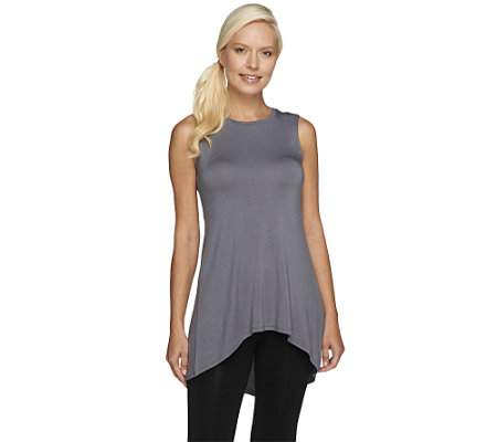 LOGO Layers by Lori Goldstein Regular High Neck Knit Tank w/ Hi-Low Hem