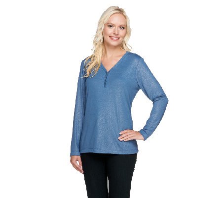 Denim & Co. Rib Knit Foil Print Long Sleeve Top