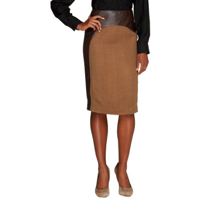 Mark of Style by Mark Zunino Faux Leather Skirt with Fabric Inset
