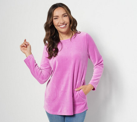 Denim & Co. Active Regular Velour Tunic