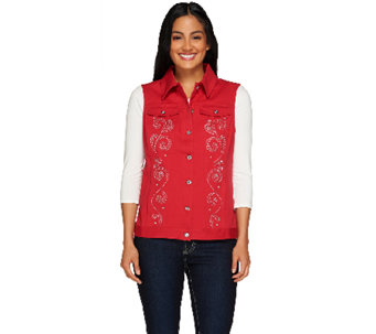 Quacker Factory Sparkle and Shine Twill Vest - A262864