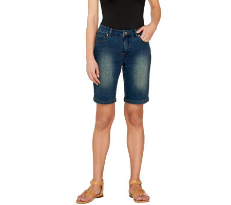 Women with Control Washed Denim Bermuda Shorts