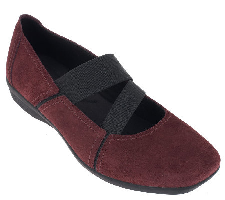 """As Is"" Clarks Suede Gored Mary Janes - Haydn Juniper"