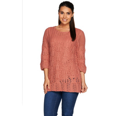 Denim & Co. 3/4 Sleeve Open Crochet Tunic Sweater with Tank