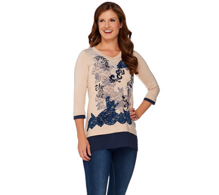 LOGO by Lori Goldstein Knit Top with Embroidery and Lace Front