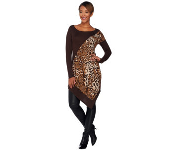 Attitudes by Renee Animal Jacquard Sweater with Asymmetric Hem - A269764