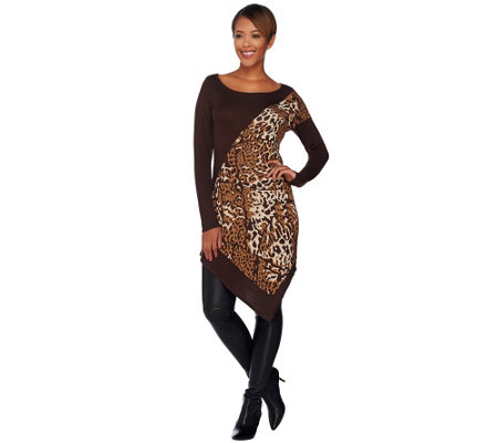 Attitudes by Renee Animal Jacquard Sweater with Asymmetric Hem