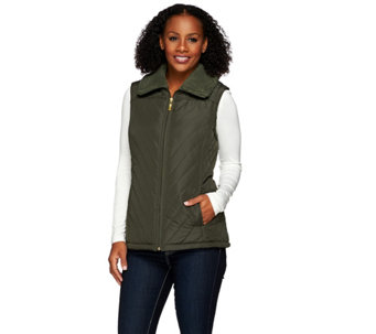 Denim & Co. Quilted Vest with Faux Sherpa Lining - A270064