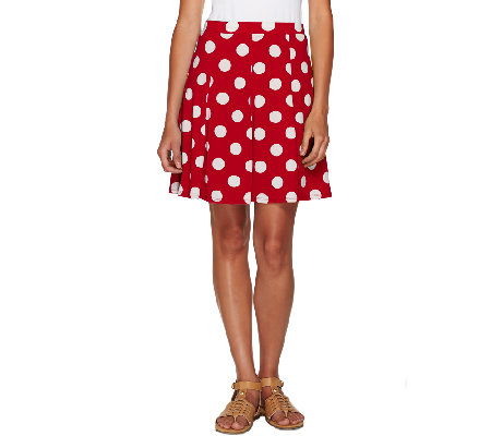 """As Is"" Susan Graver Printed Liquid Knit Pull On Skort"