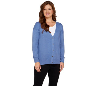 H by Halston Silk-Cashmere Blend Button Front Cardigan - A272364