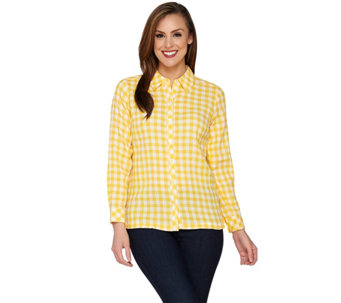 Denim & Co. Gingham Check Button Front Shirt - A274364