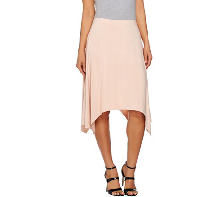 H by Halston Pull-On Knit Handkerchief Hem Skirt