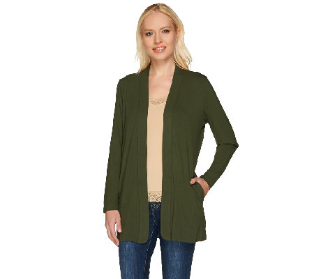 """As Is"" Susan Graver Dolce Knit Long Sleeve Open Front Cardigan"