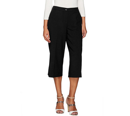 """As Is"" Susan Graver Chelsea Stretch Comfort Waist Zip Front Gaucho Pants"