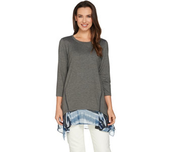 LOGO Lounge by Lori Goldstein French Terry Knit Top with Side Godets - A276764