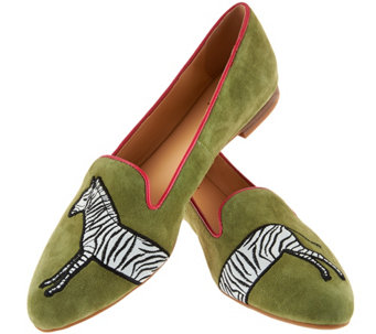 C. Wonder Zebra Embroidered Suede Loafers - Cara - A276964