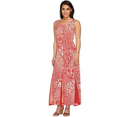 """As Is"" George Simonton Printed Maxi Dress w/ Solid Mesh Godets"