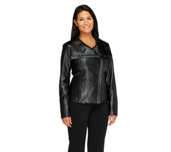 """As Is"" Dennis Basso Platinum Collection Lamb Leather Jacket - A277364"