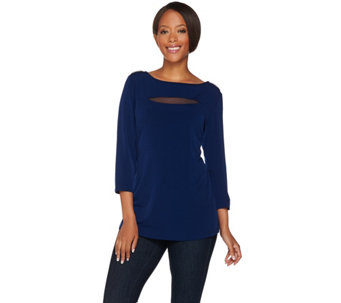 Susan Graver Liquid Knit 3/4 Sleeve Top with Mesh Inset - A278864