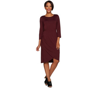 H by Halston 3/4 Sleeve Draped Front Knit Dress - A280164