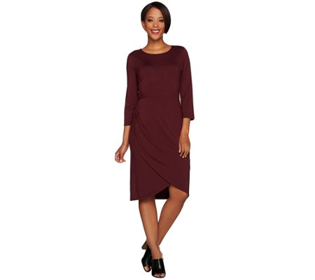 H by Halston 3/4 Sleeve Draped Front Knit Dress