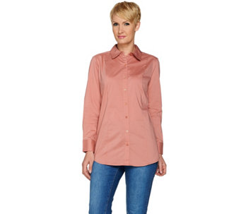 Denim & Co. Solid Button Front Shirt - A280664