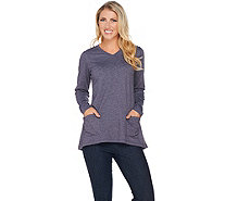 LOGO Lounge by Lori Goldstein French Terry Top with Embroidery - A282164