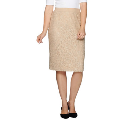 Joan Rivers Luxurious Lace Pull-On Slim Skirt