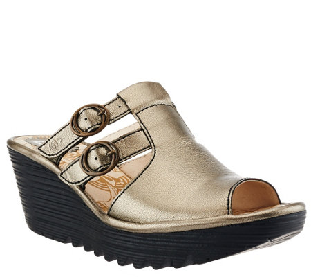 """As Is"" FLY London Slide Wedge Sandals w/ Buckle Details - Yawe"