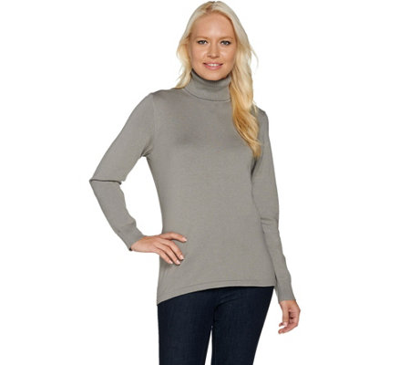 Dennis Basso Long Sleeve Knit Turtleneck Sweater